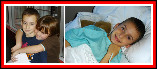 Sister Emily comforts Evan after a bone marrow biopsy; Evan hospitalized for ATG