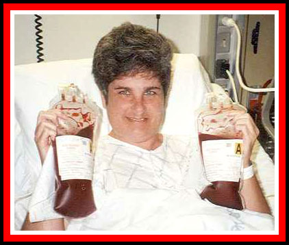 Ruth Cuadra minutes before her transplant, October 6, 1998